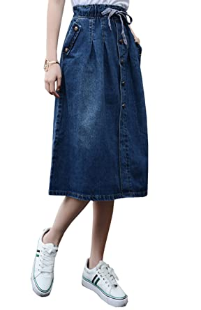 ead546b7cd7f Only Faith Women Loose A-line Long Denim Skirt Pocket Denim Skirts (26)