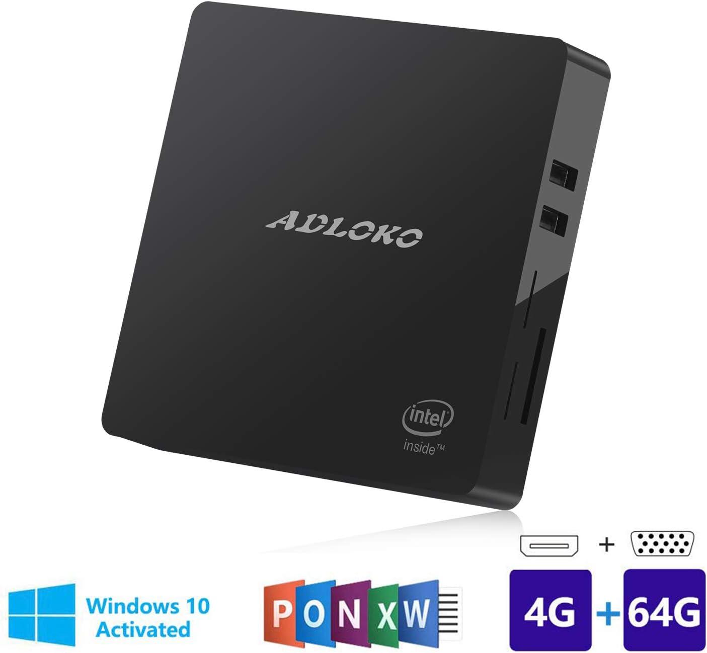 Mini PC, 4 GB/64 GB Windows 10 64 bits Intel Atom Z8350 (hasta 1.92 GHz), 4 K/HDMI/VGA/USB 3.0/Gigabit Ethernet/Dual WiFi/SD Card Reader/BT 4.0, ordenador de sobremesa: Amazon.es: Informática