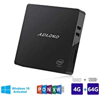 Mini PC, 4GB/64GB Windows 10 64-bit Intel Atom Z8350 (up to 1.92GHz), 4K/Dual HDMI/USB 3.0/Gigabit Ethernet/Dual WiFi/SD Card Reader/BT 4.0, Fanless Mini Computer Desktop
