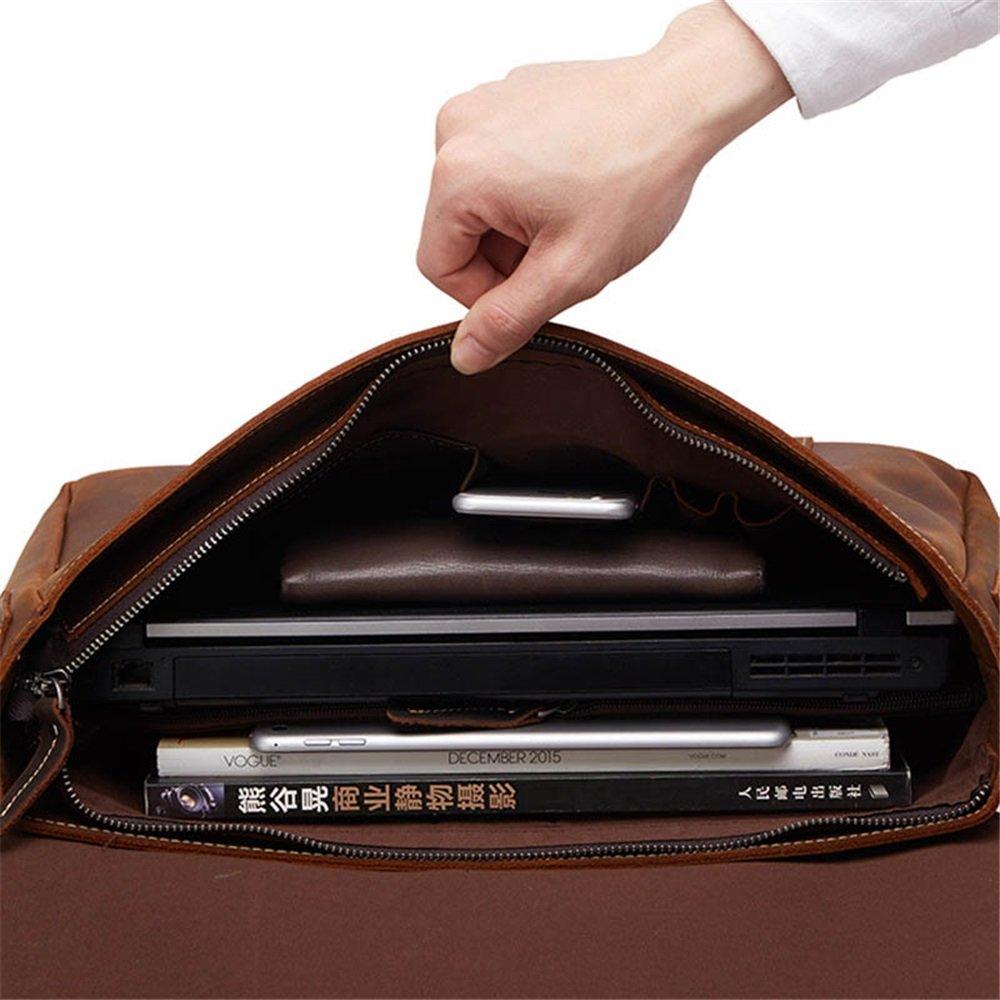 Amyannie Laptop Messenger Bag Mens Vintage Leather Briefcase for Business Tote Messenger Bag 15.6 inch Laptop Handbag (Color : Brown) by Amyannie (Image #3)