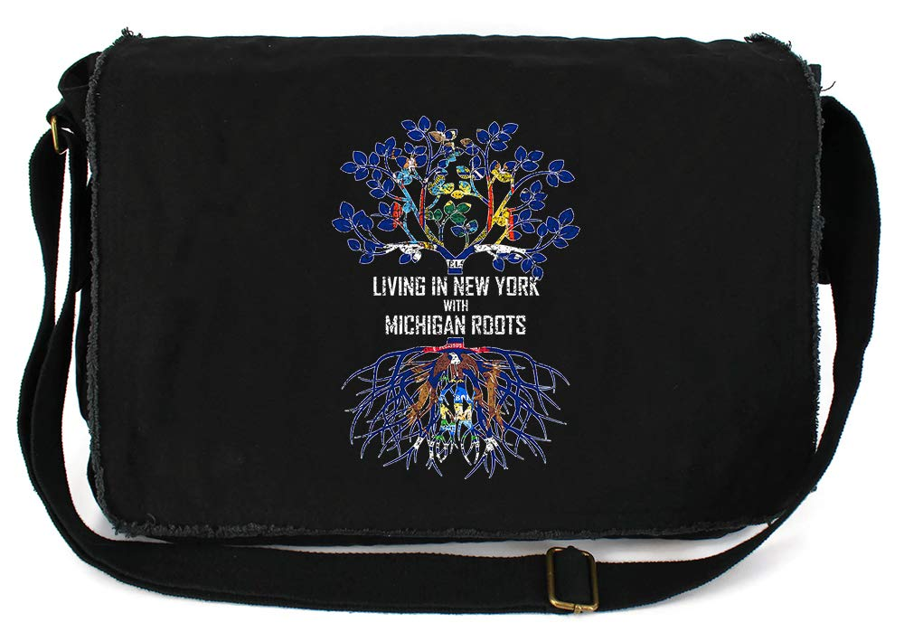 Tenacitee Living In New York with Michigan Roots Grey Brushed Canvas Messenger Bag