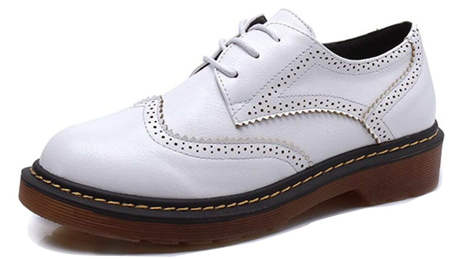 F2Y Women's Lace Up Low Chunky Heel Round Toe Casual Oxford Shoes