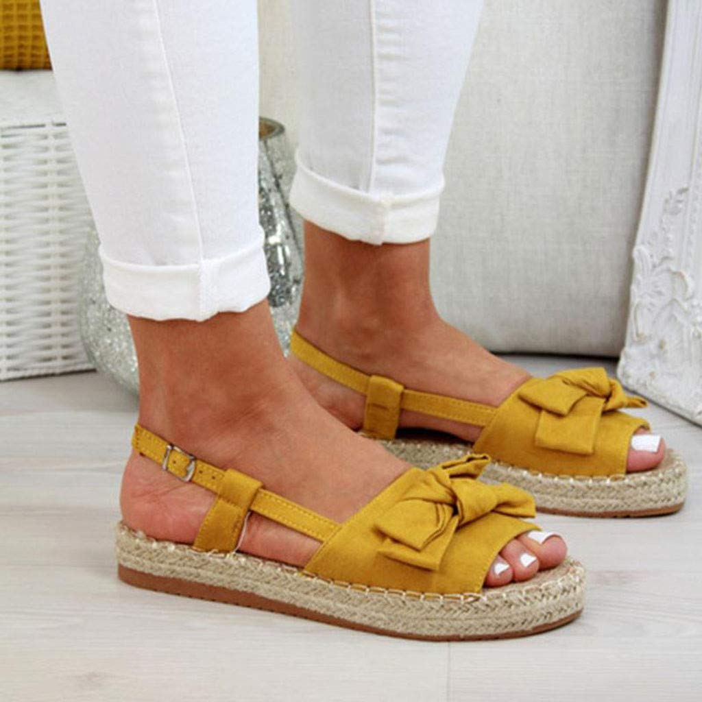 ✔ Hypothesis_X ☎ Women's Double Strap Cork Sole Slide Sandal Peep Toe Butterfly Knot Buckle Strap Sandals Yellow by ✔ Hypothesis_X ☎ Shoes (Image #5)