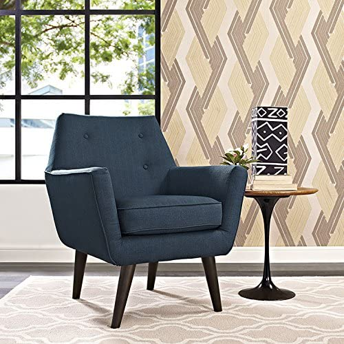 Modway Posit Mid-Century Modern Fabric Upholstered Accent Lounge Arm Chair In Azure