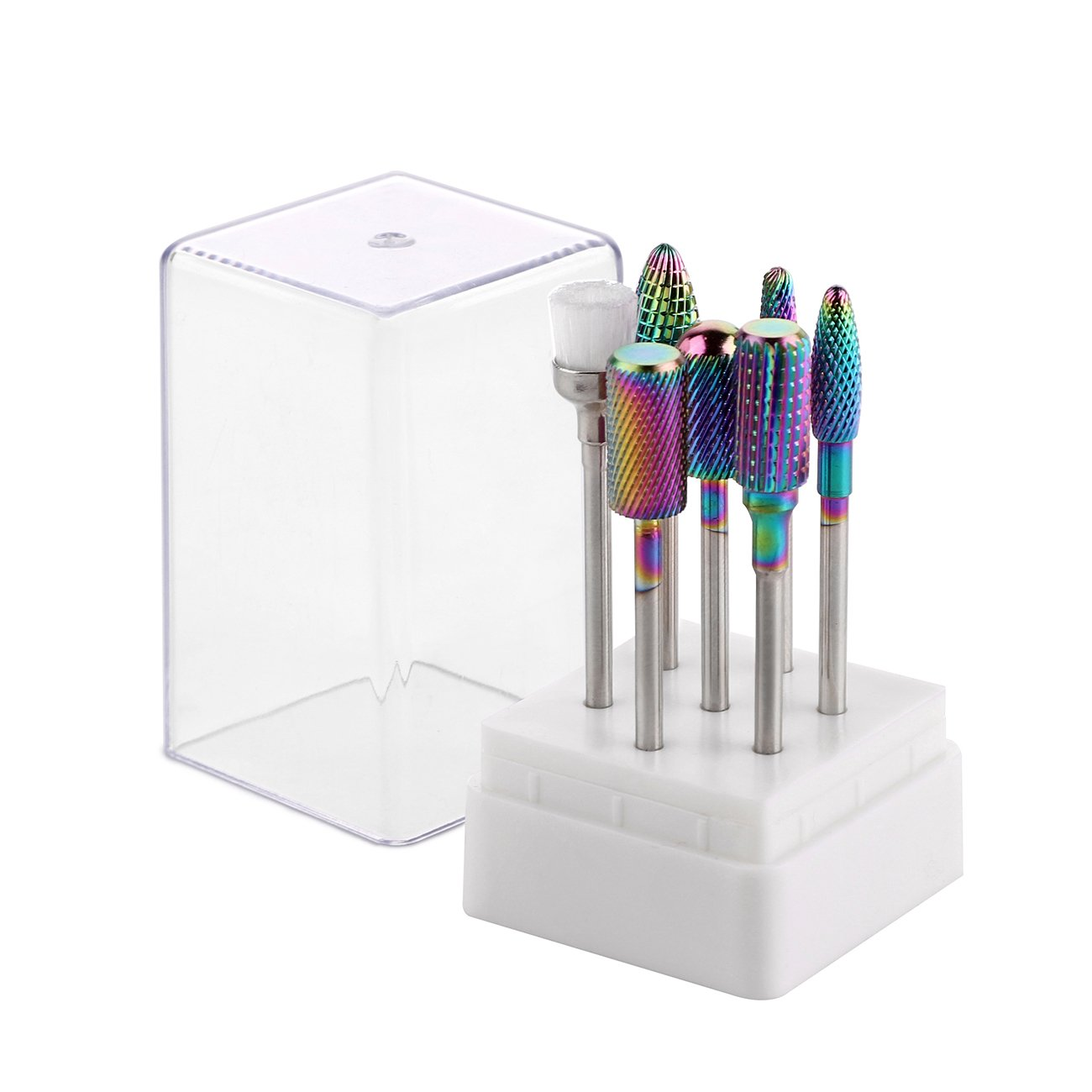 MAKARTT A-14 Tungsten Carbide Nail Drill Bits Set 7Pcs Less Dust Acrylic Nail File Drill Bit Manicure Pedicure 3/32