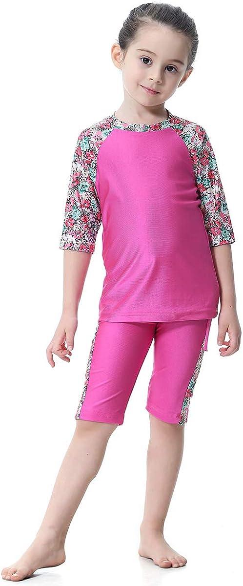 Acqrobe Girls Muslim 2 Piece Swimsuit Kids Tankini Bathing Suits Half Sleeve