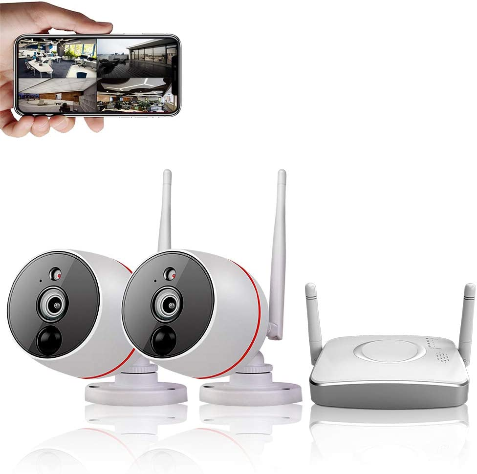 CAMVIEW Home Security Camera System Wireless, 2PCS WiFi Security Camera 1080P 4CH Gateway Small size NVR , PIR Motion Detection Recording 2-Way Audio View by Phone App Support Max 128G Micro SD Card