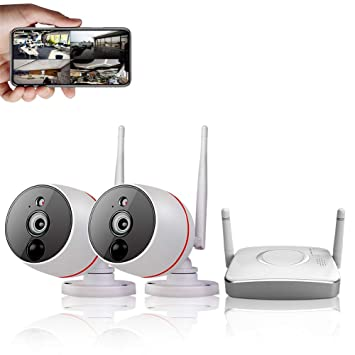 CAMVIEW Home Security Camera System Wireless, 2PCS WiFi Security Camera  1080P + 4CH Gateway(Small size NVR), PIR Motion Detection Recording 2-Way