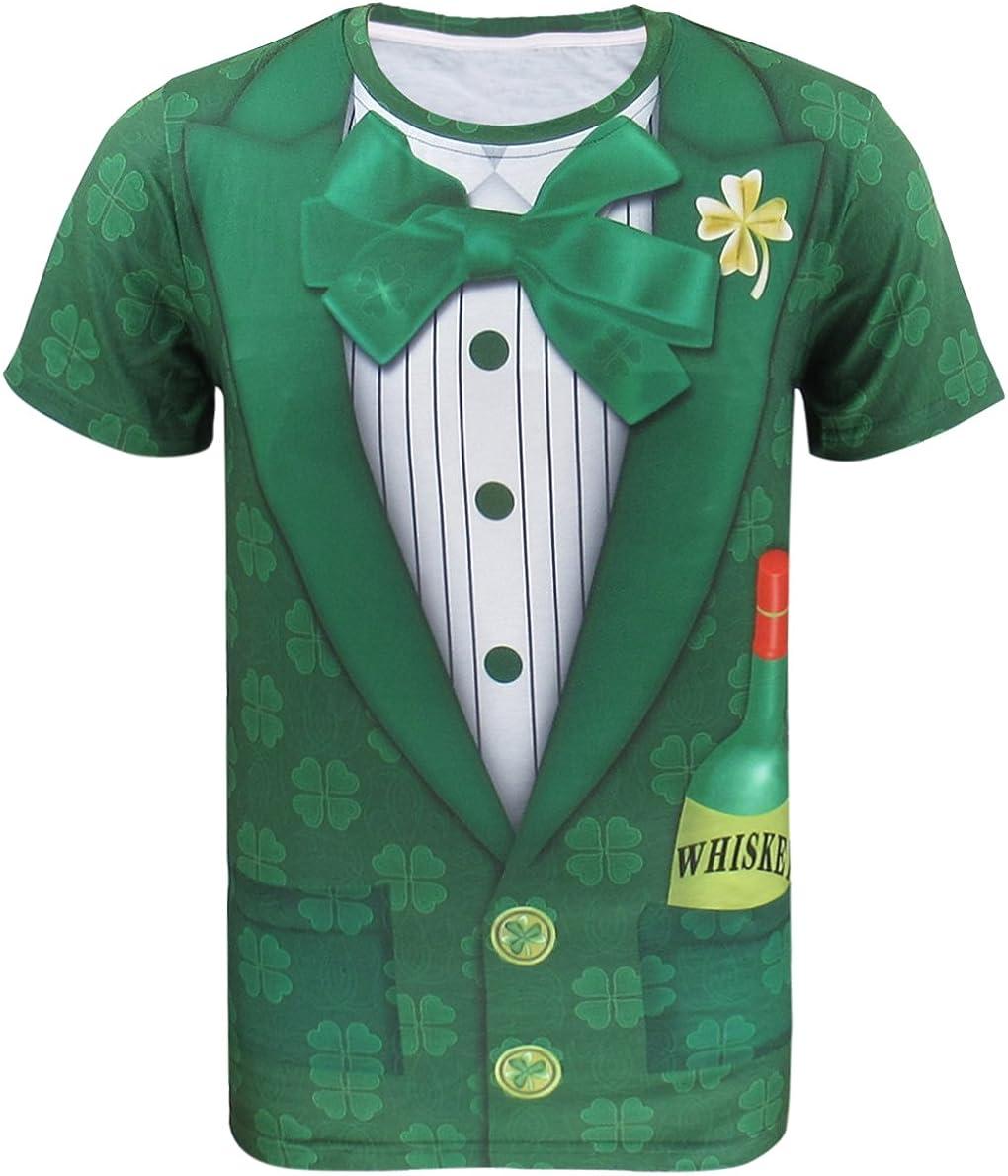 COSAVOROCK Disfraz de Leprechaun Hombre Traje de San Patricio Camiseta Verde