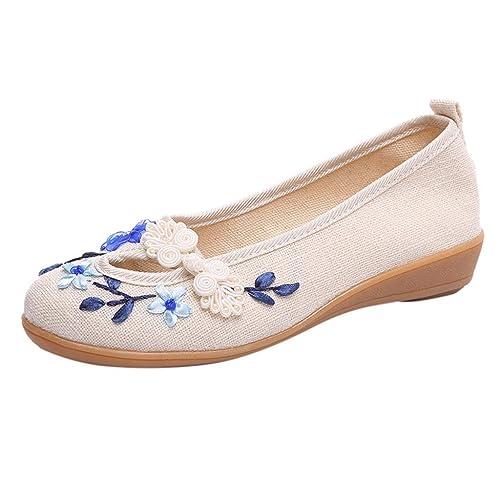 Zapatos Planos Estilo étnico Bordado para Mujer de Mediana Edad, Mocasines Loafer Mujer de Lona: Amazon.es: Zapatos y complementos