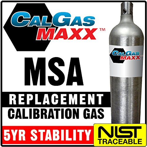 CalgasMAXX Replacement Calibration Gas for MSA 10048280: 20 ppm H2S/ 60 ppm CO/ 1.45% CH4/ 15% O2/ bal N2