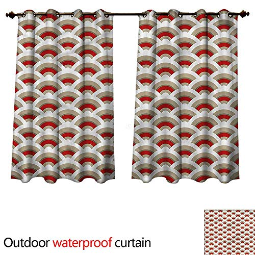 (cobeDecor Abstract Home Patio Outdoor Curtain Oriental Scallop Art W55 x L45(140cm x 115cm))