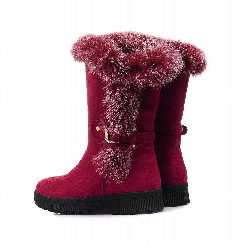 0ba24f1ceac0 Latasa Women s Charm Mid-calf Low-heel Platform Snow Boots