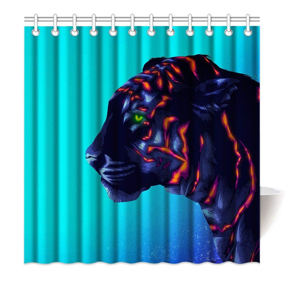 HommomH 69 x 84 Inch Tiger Cub Shower Curtain Fabric Bathroom Decor Set with Hooks Colorful Fluorescent Green Eye by HommomH