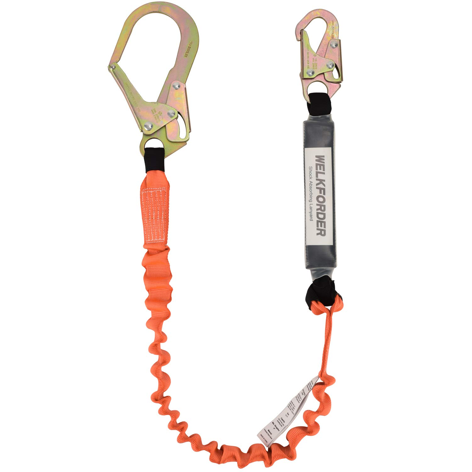 WELKFORDER Single Leg 6-Foot Fall Protection for Construction Shock Absorber Stretch Safety Lanyard with Snap & Rebar Hook Connectors ANSI Z359.13-2013 Complaint by WELKFORDER