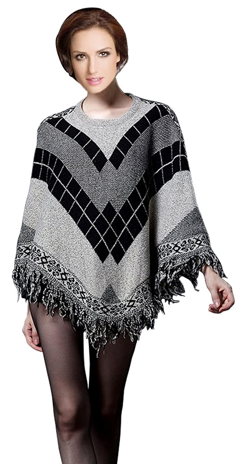 Women's Batwing Sleeve Tassels Pullover Poncho Sweater