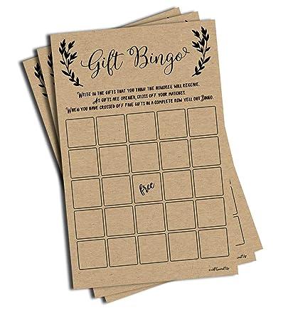 Amazon Com 50 Gift Bingo Bridal Or Baby Shower Game Kraft Rustic