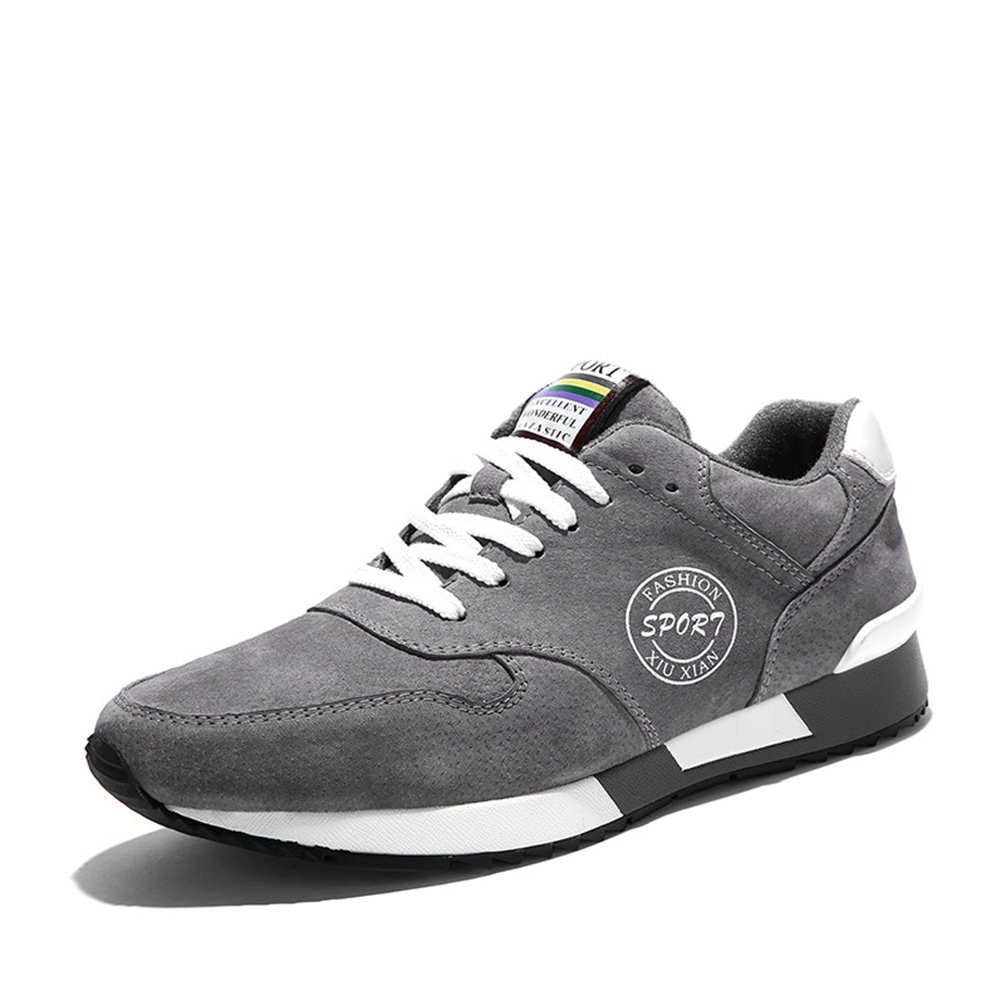 LanFengeu Herren Sneakers Schnuuml;rsenkel Nubukleder Modische Sportschuhe Atmungsaktiv Leichtgewicht Bequeme Freizeitschuhe  42 EU Grau