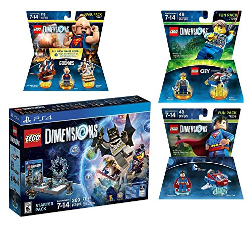 Lego Dimensions Starter Pack + Goonies Level Pack + Lego City Chase McCain + Superman Fun Packs for Playstation 4 or PS4 Pro Console by WB Lego