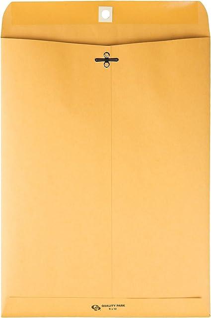 100 Large Gummed Clasp Envelopes Manila Kraft Paper 9 x 12 Catalog Mailers