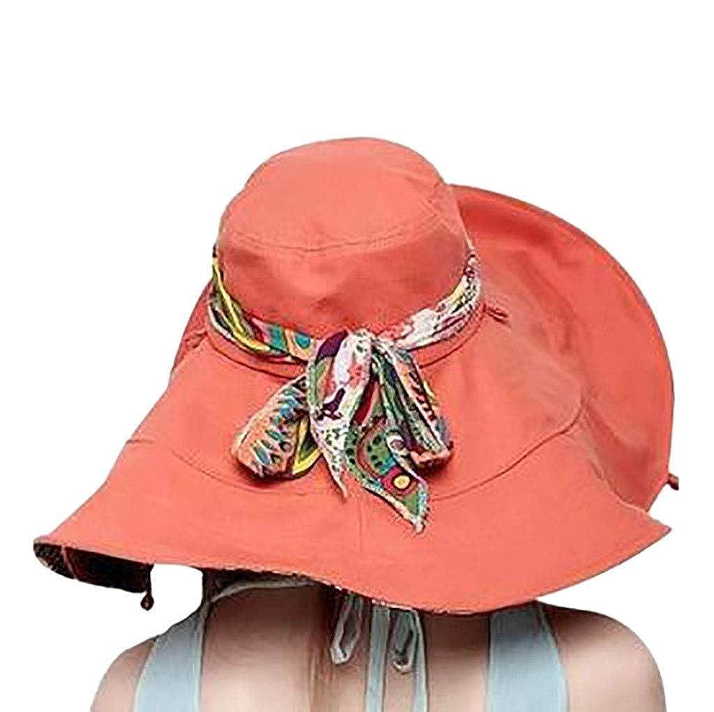 BBestseller Casuales Big Bowknot Plegable ala Ancha Mujer Sombreros de Sol de Verano Sombrero de Playa Protectora del Sol Gorro Vacaciones (Púrpura): ...