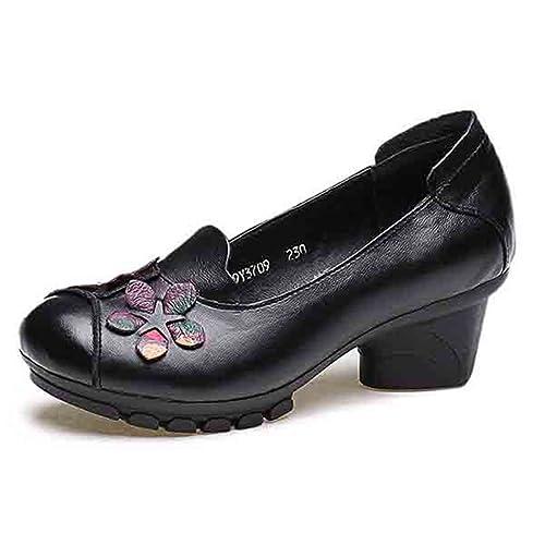 Socofy Mocasines Mujer Zapatos de Cuero Ballet Mocasines Zapatos Casuales Mujer Primavera Verano Casual Plano Cómodo Cabeza Redonda de Cuero Zapatillas de ...