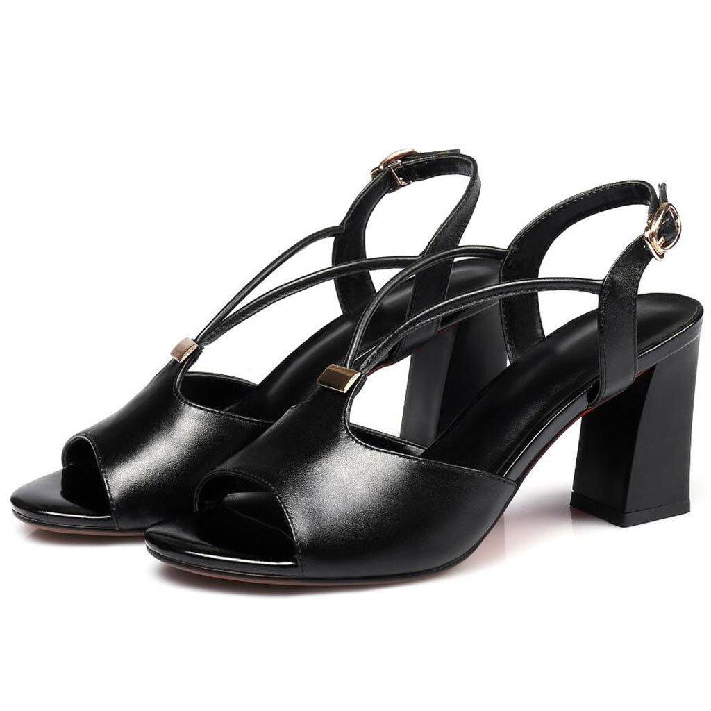 GAOLIXIA Sandalias de punta abierta del cuero genuino de las mujeres tacones altos de la hebilla de la manera del verano negro blanco (Color : Negro, tamaño : 35) 35 Negro