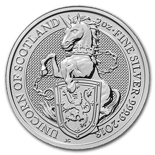 2018 UK Great Britain 2oz Queen's Beasts The Unicorn Silver 5 Pounds Brilliant Uncirculated
