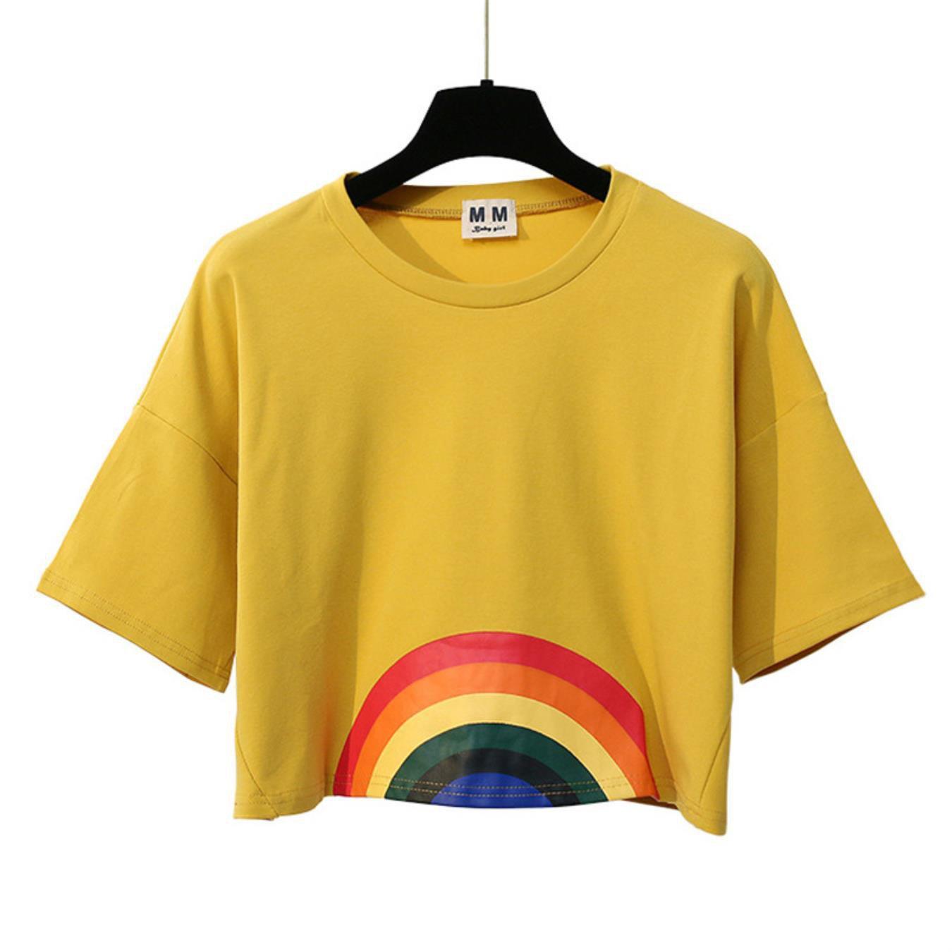 Merry Pretty Summer New Fashion Harajuku Women T-shirt Kawaii Rainbow Print Crop tops