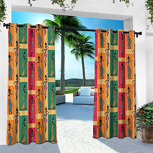 Vases Hindu - Hengshu African, Outdoor Curtain for Patio,Outdoor Patio Curtains,Ethnic Ladies Posing with Vases Native Moroccan Inspired Arabesque Artful Graphic, W84 x L108 Inch, Multicolor
