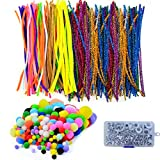 baotongle 1000Pcs Pipe Cleaners Chenille Stem 6mm x 12 Inch Reusable Craft Bendable Twistable 200 Pipe Cleaners, 200 Pom Poms, 600 Wiggle Eyes in a Box Children Puzzle Kindergarten Handmade DIY Art
