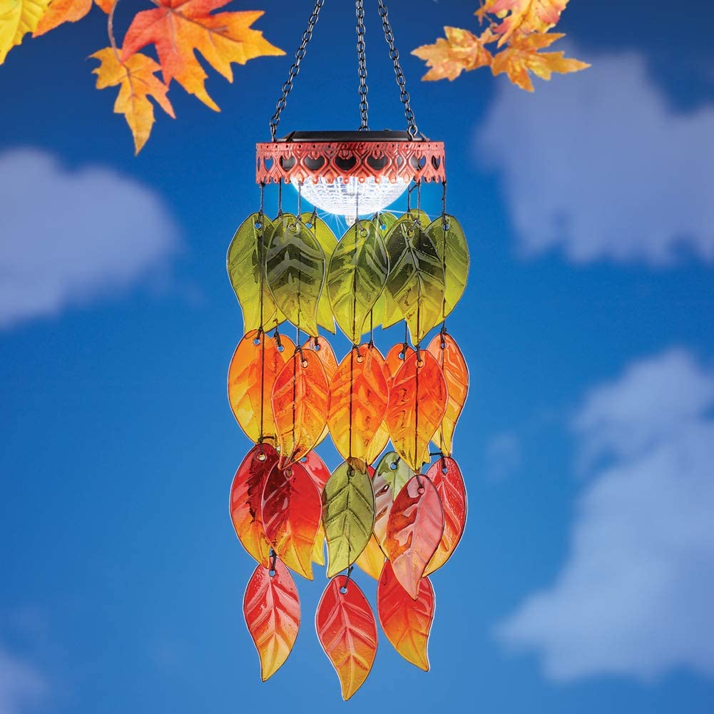 Collections Etc Solar Colorful Autumn Leaves Wind Dangler Includes Chain and Hook on Top for Easy Hanging