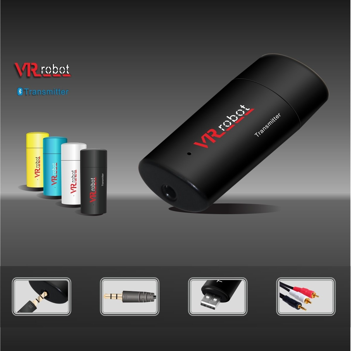 VR-robot 3.5mm Portable Stereo Audio, Wireless Bluetooth Transmitter, for TV, iPod, MP3/MP4,USB Power Supply(Black) by VR-robot (Image #5)