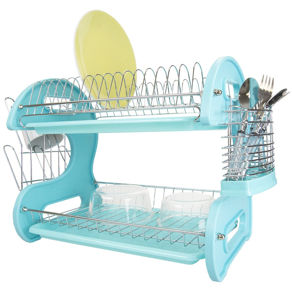 Home Basics Plastic Dish Drainer, 2-Tier (Turquoise)