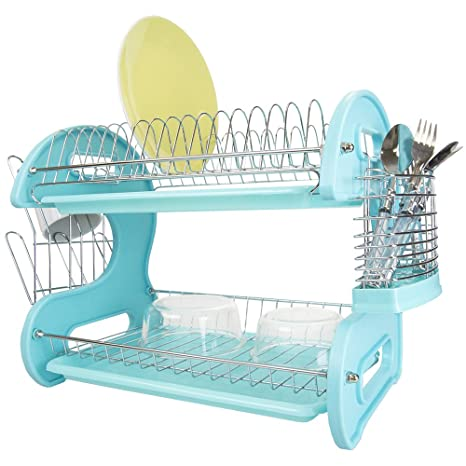 Home Basics 2 Tier Dish Rack Extraordinary Amazon Home Basics Plastic Dish Drainer 60Tier Turquoise