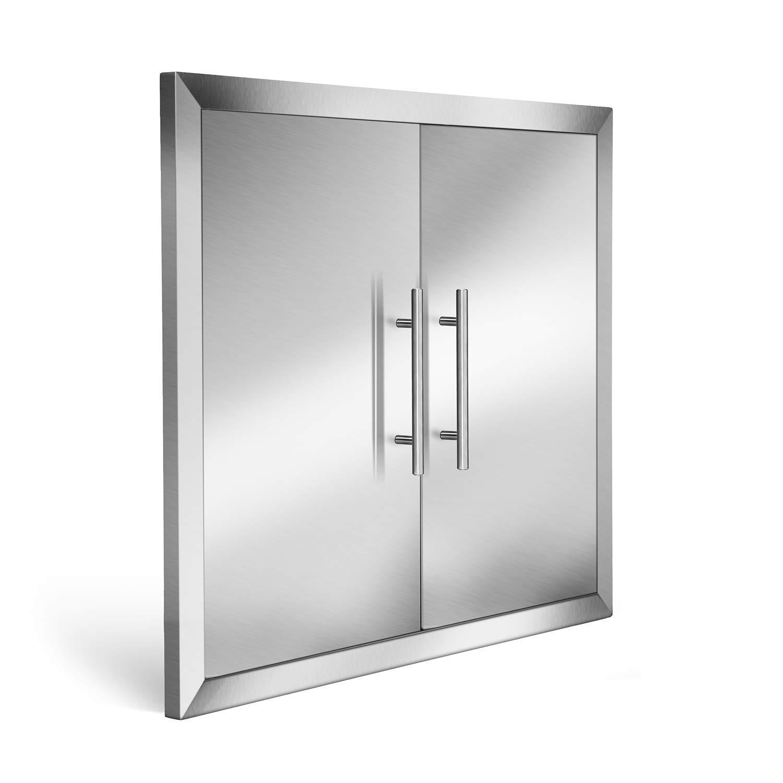 Odthelda Outdoor Barbecue Cabinet Door 31 Inch 304 Grade Stainless No Sharp Access Doors Include Convenient Built in Paper Towel Holder and Seasoning Slot by Odthelda