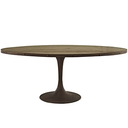 Amazon Com Modway Drive Oval Dining Table 78 Brown Tables