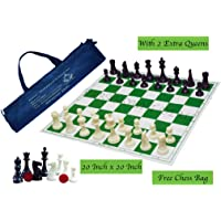 """Paramount Dealz Professional Vinyl Chess Set Fide Standards with 2 Extra Queens/Chess Bag (20""""x 20"""", Green)"""