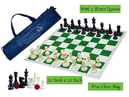 Paramount Dealz Professional Vinyl Chess Set Fide Standards with 2 Extra Queens/Chess Bag (20x 20, Green)