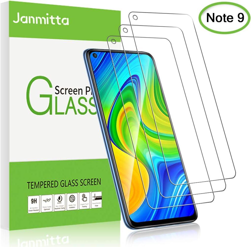 Janmitta para Xiaomi Redmi Note 9 Protector de Pantalla [3 Piezas], 9H Dureza [Alta Definicion] [Fácil de Instalar] Cristal Vidrio Templado Film para Xiaomi Redmi Note 9