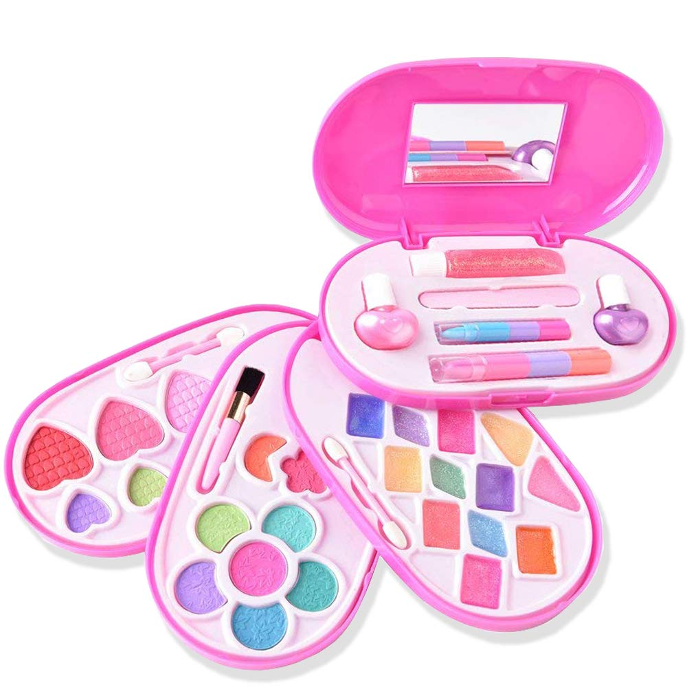 Ange-la Girls Washable Real Make up Set BeautyCosmetics Makeup Kit for Kids Pretend Play Dress up All in One Palette