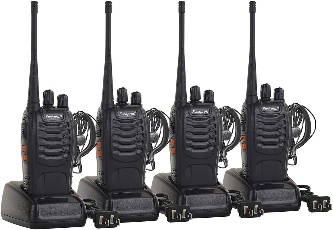 Funkprofi Rechargeable Walkie Talkies, 4 Pack Long Range UHF 400-470MHz 16 Channel Two Way Radio with Li-ion Battery, Charger and Earpiece