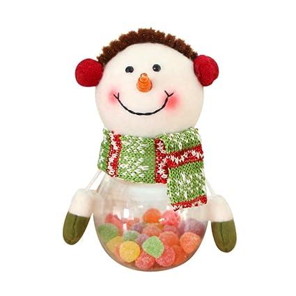 Elegante Cute Christmas Candy Jar, Y56 Candy Embalaje de Navidad Papá Noel Muñeco de nieve