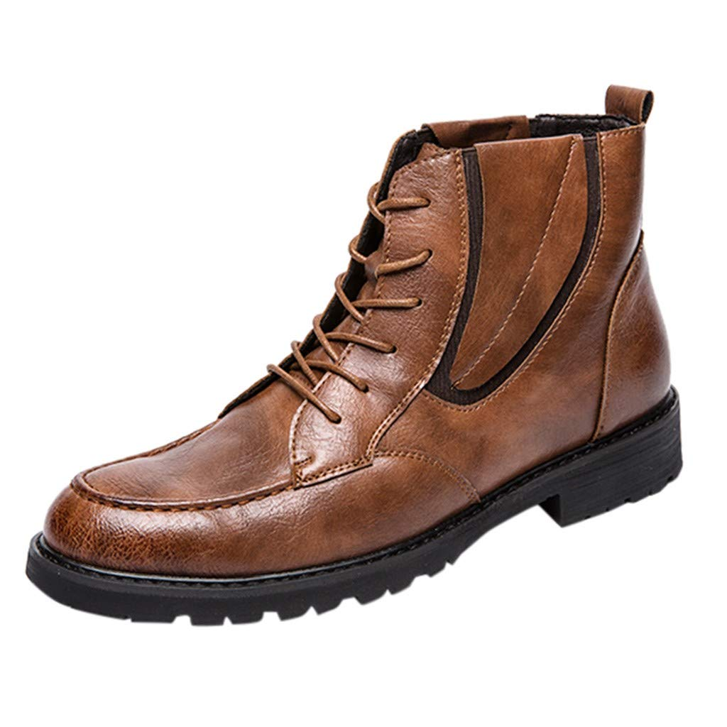 ZOMUSAR Boy Shoes Fashion Men Casual Leather Shoes High-top Boots Shoes British Style Men Shoes Yellow by ZOMUSAR