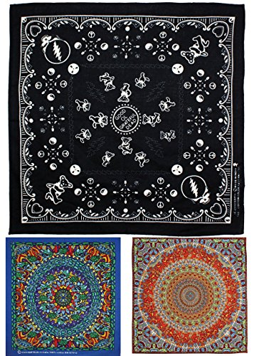 Sunshine Joy Grateful Dead Bandana 3 Piece Set (Black)