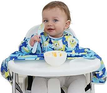 مريلة للاطفال مضادة للماء للفطام من اجل التغذية الذاتية للرضع والاطفال الصغار، مريلة واسعة للمقعد العالي للرضع، مستلزمات الفطام للطفل من فيرونيكا.