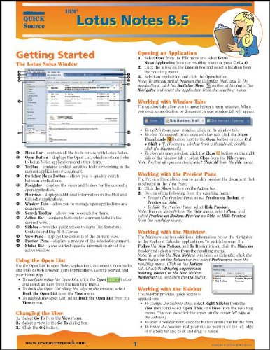 IBM Lotus Notes 8.5 Quick Source Reference Guide