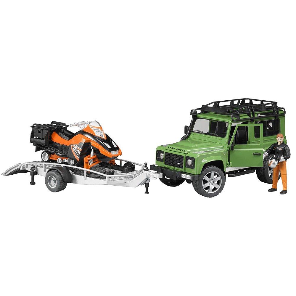 Bruder 02594 Toys Land Rover Defender Station Wagon Mit Anhnger Snowmobil Fahrer Und Zubehr Spielzeug