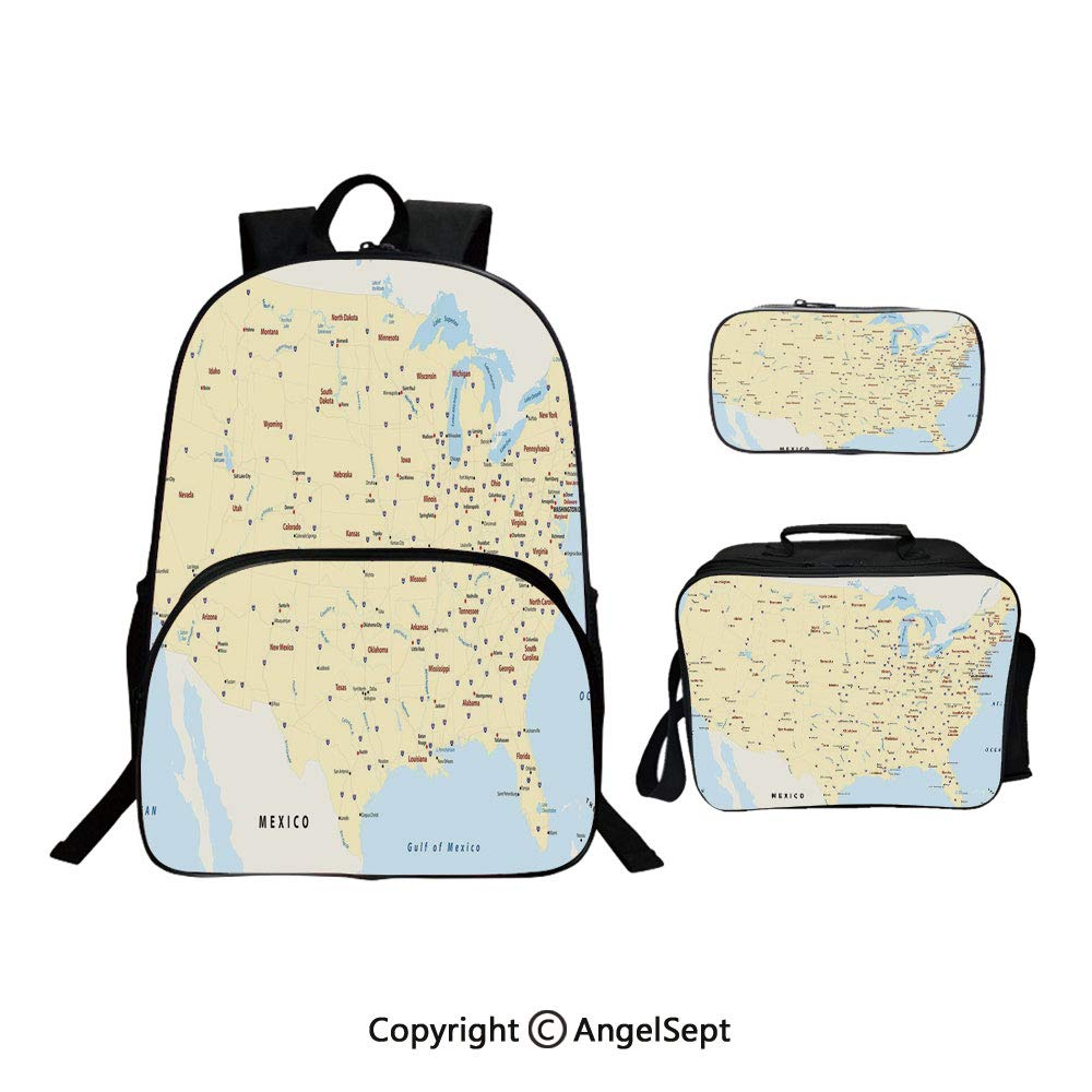 Fashion Casual School Student Backpack,United States Interstate Map America Cities Travel Destinations Road Route Yellow Red Light Blue,Lightweight Daypack With Lunch Bag And Pencil Case For Girls by RWNFA