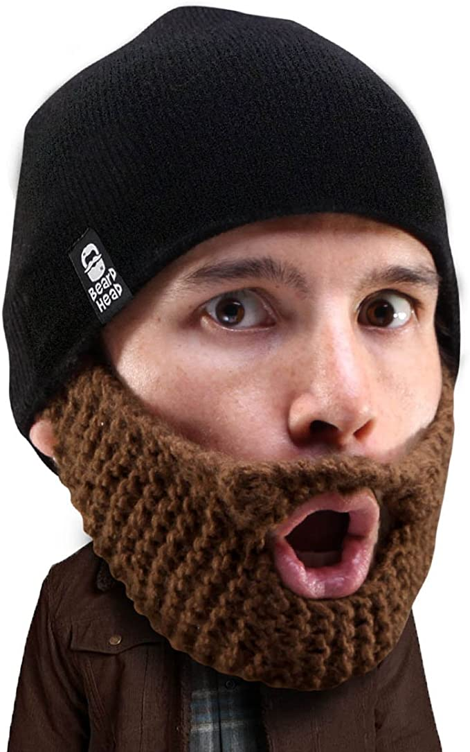 Beard Head Stubble Populous Beard Beanie -Funny Knit Hat and Fake Beard Facemask Brown